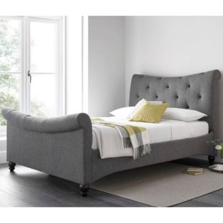 An Image of Trexus Fabric Double Bed In Grey With Wooden Legs