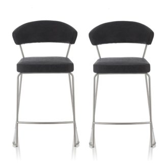 An Image of Adelina Retro Bar Stool In Black Faux Leather In A Pair