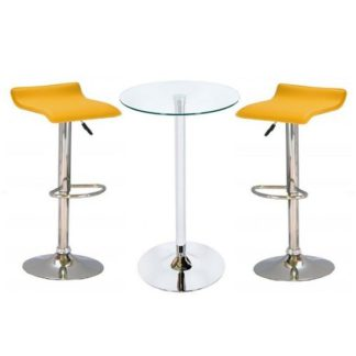 An Image of Bente Glass Bar Table With 2 Stratos Yellow Bar Stools