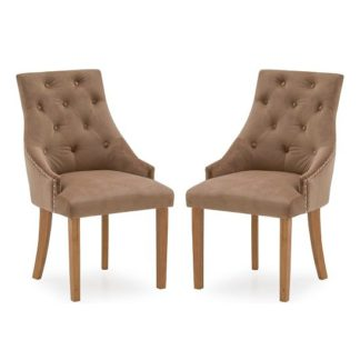 An Image of Vanille Velvet Dining Chair In Cedar With Oak Legs In A Pair