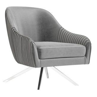 An Image of Bianca Velvet Fabric Swivel Lounge Chair In Silver Grey