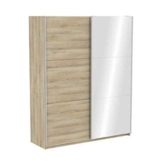 An Image of Selsey Mirrored Sliding Wardrobe In Kronberg Oak With 2 Doors