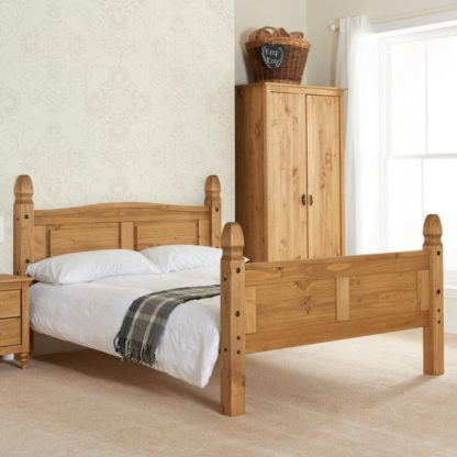 An Image of Corona Wooden High End Small Double Bed In Waxed Pine