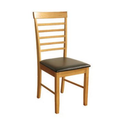 An Image of Marsic Dining Chair In Light Oak With Black Faux Leather Seat