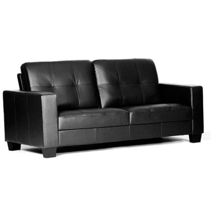 An Image of Lena Leather And PVC Bonded 3 Seater Sofa In Black