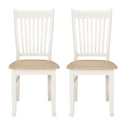 An Image of Julian Dining Chair In Distressed Effect Wooden Seat in A Pair