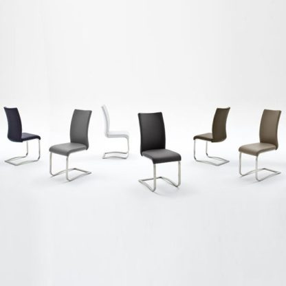 An Image of Arco White Pu Seat And Brushed Stainless Steel Dining Chair