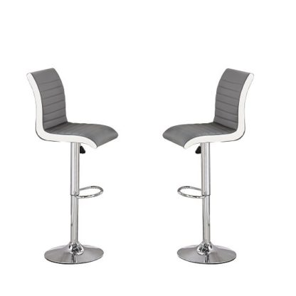 An Image of Ritz Bar Stools In Grey And White Faux Leather In A Pair