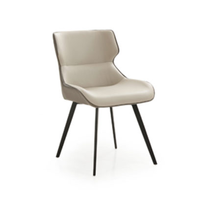 An Image of Ancha Dining Chair In Stone And Dark Grey