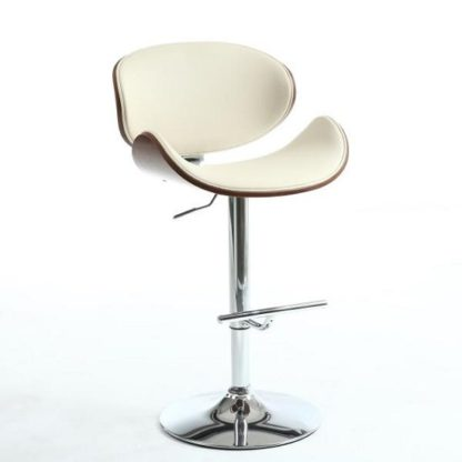 An Image of Stinson Bar Stool In Cream PU And Walnut With Chrome Base