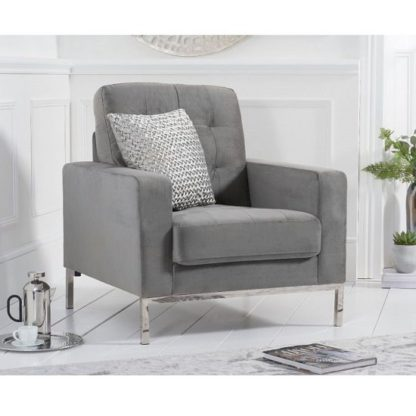 An Image of Swiger High Back Velvet Armchair In Grey With Metal Legs
