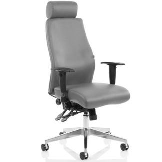 An Image of Onyx Ergo Leather Office Chair In Grey With Headrest And Arms