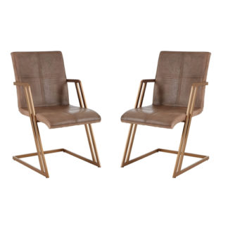 An Image of Australis Grey Leather Chair With Angular Iron Frame In Pair