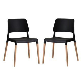 An Image of Riva Black Finish Dining Chairs In Pair