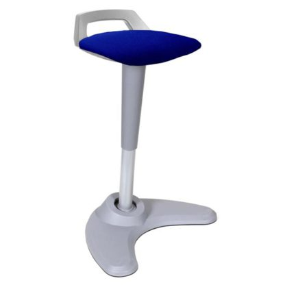 An Image of Spry Fabric Office Stool In Grey Frame And Stevia Blue Seat