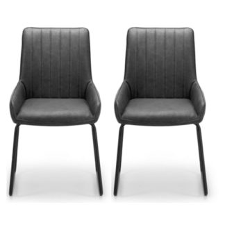 An Image of Soho Black Faux Leather Dining Chair In Pair