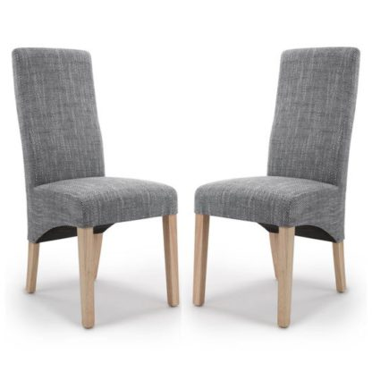 An Image of Baxter Grey Wave Back Tweed Dining Chair In A Pair
