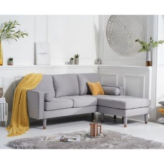An Image of Garren Reversible Three Seater Chaise Sofa In Grey Linen