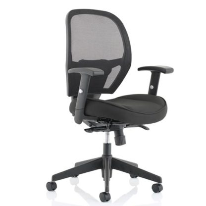 An Image of Denver Leather Mesh Office Chair In Black With Arms