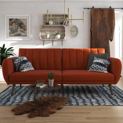 An Image of Brittany Linen Sofa Bed In Orange With Wooden Legs