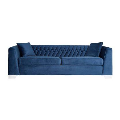 An Image of Merak 3 Seater Velvet Sofa In Dark Blue