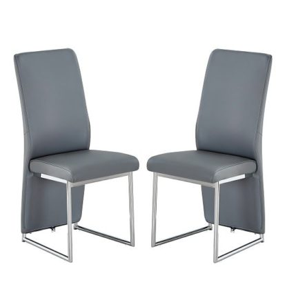 An Image of Ebony Dining Chair In Grey Faux Leather In A Pair