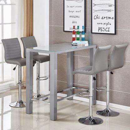 An Image of Jam Glass Bar Table Set Rectangular Grey Gloss 4 Ripple Stools