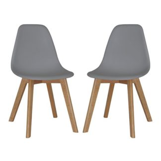 An Image of Canum Grey Plastic Dining Chairs In Pair With Beech Legs