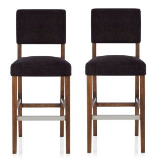An Image of Vibio Bar Stools In Aubergine Fabric With Walnut Legs In A Pair