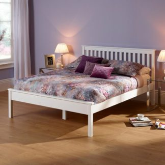 An Image of Heather Hevea Wooden Double Bed In Opal White