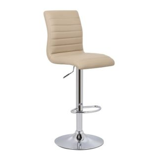 An Image of Ripple Bar Stool In Stone Faux Leather With Chrome Base