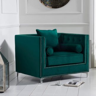 An Image of Mulberry Modern Fabric Sofa Chair In Green Velvet