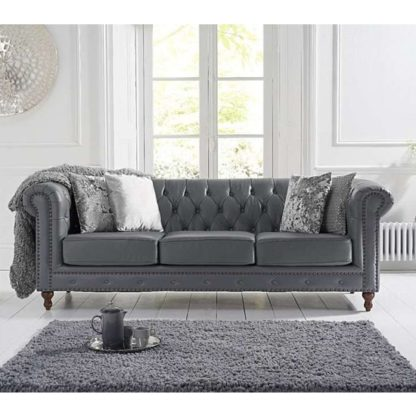 An Image of Propus Leather 3 Seater Sofa In Grey
