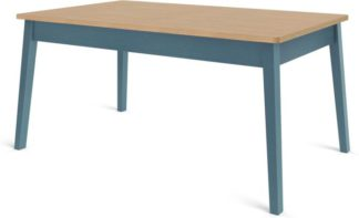 An Image of Custom MADE Harrison Shaker 6 Seat Dining Table, Oak and Teal