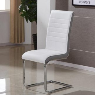An Image of Symphony Dining Chair In White And Grey PU With Chrome Base