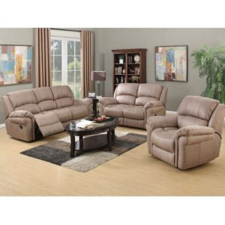 An Image of Claton Recliner Sofa Suite In Taupe Leather Look Fabric
