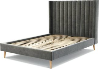 An Image of Custom MADE Cory Double size Bed, Steel Grey Velvet with Oak Legs