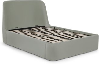 An Image of Hayllar King Size Bed with Ottoman Storage, Sage Green Velvet