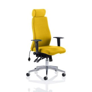 An Image of Penza Office Chair In Senna Yellow With Adjustable Arms
