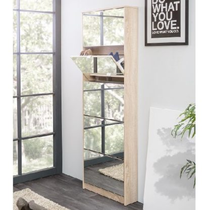 An Image of Boddem Mirrored Shoe Cabinet In Sonoma Oak With 5 Flap Doors