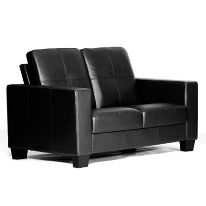 An Image of Lena Leather And PVC Bonded 2 Seater Sofa In Black