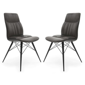 An Image of Ardoch Faux Leather Dining Chair In Antique Grey In A Pair