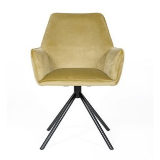 An Image of Uno Velvet Fabric Dining Chair In Citron