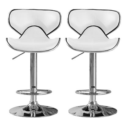 An Image of Hillside White PU Leather Bar Stool In Pair With Chrome Base