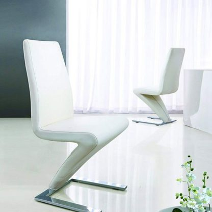 An Image of Demi Z Dining Room Chair In White With Chrome Feet