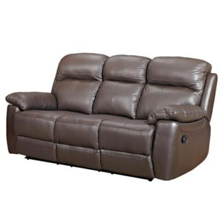 An Image of Aston Leather 3 Seater Fixed Sofa In Brown