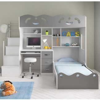 An Image of Coco Wooden Combined Bunk Bed In White And Grey