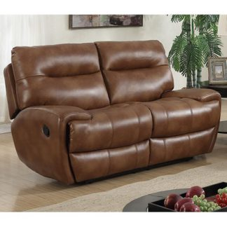 An Image of Orionis LeatherGel And PU Recliner 2 Seater Sofa In Brown