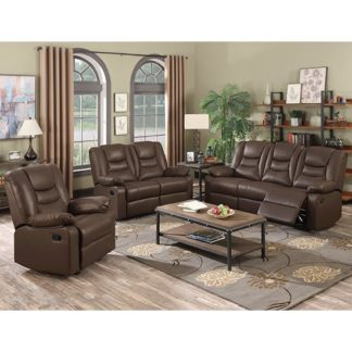 An Image of Gruis LeatherGel And PU Recliner Sofa Suite In Dark Chocolate