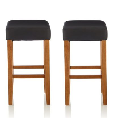An Image of Newark Bar Stools In Black PU And Oak Legs In A Pair